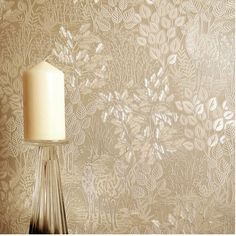 Majella is a luxury Italian heavyweight vinyl design which is inspired by wood carvings. It features carved light-reflective trees, foliage and a stag on a background with a very fine stitch-effect background. Durable and hard wearing. Size:  x Roll) Vinyl Wallpaper, Textured Wallpaper, Nature Wallpaper, Vinyl Designs, Cool Designs, Vinyl Wall Covering, Perfect Wallpaper, Wood Carvings, Leaf Design