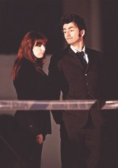 Catherine Tate and David Tennant on-set