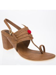 8ac2f5d1fa Brown Faux Leather Handcrafted Classic Kolhapuris Block Sandals, Flat  Sandals, Brown Heels, Pencil