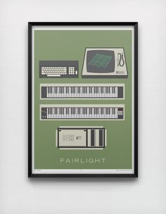 Fairlight 50 x 70cm Giclée Print Retro 1980's Analog Synth Minimalist Graphic Poster Home