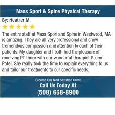The entire staff at Mass Sport and Spine in Westwood, MA is amazing. They are all very...