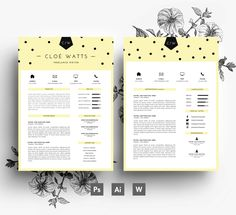 Resume Cover letter Business Card / 3 page by EmilyARTboutique