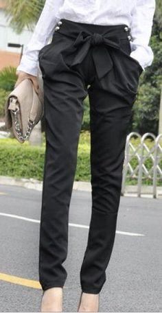 Harem Skinny Long Slim Bow Pants Pantalones 78320774856f