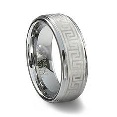 Tungsten Carbide Greek Key Ring | Laser Designed Mens Ring