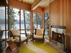 Gallery of North Lake Wenatchee House / DeForest Architects – 4 - Cabin Decor Modern Family Rooms, Home And Family, Modern Living, Cabin Interior Design, House Design, Cabin Design, Porch Interior, Chalet Design, Interior Designing