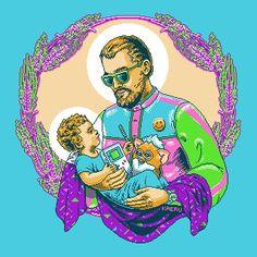 San-Cayetano-Pixel-Art-Illustration-Religious-Saint-LSD-Lisergic-Kaeru-Argentina-Kitsch-Pop-Surrealist-Jesus-Game-Boy-Nintendo-Furby-8-bit-90's-1990-00