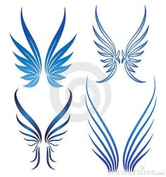 Similar Images, Stock Photos & Vectors of abstract stylized vector wings set - 11484598 Angel Wings Art, Wing Tattoo Designs, Angel Tattoo Designs, Small Wing Tattoos, Wing Tattoos On Back, Tribal Wings, Pinstripe Art, Angel Drawing, Tribal Sleeve Tattoos