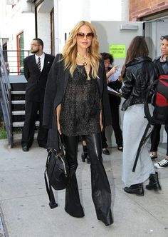 sheer blouse + leather pants , Rachel Zoe