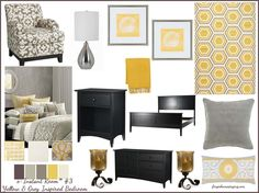 Items Similar To E Decorating   E Instant Room   Yellow And Gray Inspired  Bedroom On Etsy