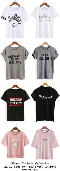 Slogan T-shirts Collection - romwe.com