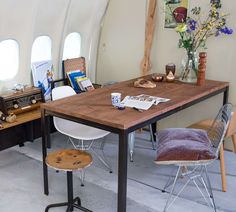 KLM and AirBnB will be inviting guests to sleep over in a fully refurnished airplane that isn't going anywhere. Sleepover, Aircraft, Dining Table, Rustic, Blog, Furniture, Home Decor, Country Primitive, Aviation