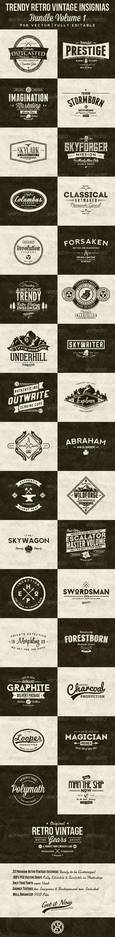 33 Trendy Retro Vintage Insignias Bundle Volume 1 - Badges Stickers Web Elements