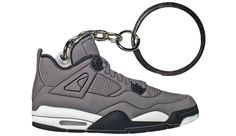 - Style: Jordan 4 - Colorway: Grey/Black/White Material: Rubber - Size: 2.5 inches