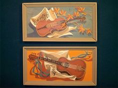 Vintage Craft Master Paint by Number Musical Instrument Violin Guitar