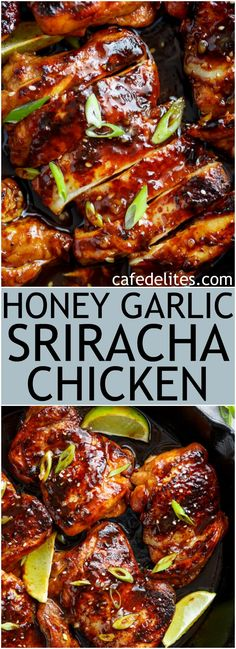 Flavour packed Honey Garlic Sriracha Chicken, made with the easiest, and most delicious marinade/dipping sauce! Restaurant quality chicken made right at home! | https://cafedelites.com