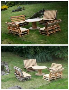 Garden set made from upcycled wooden pallets for the benches and a reel for the coffee table.   Idea sent by Anthony Debray ! #Garden, #PalletBench, #PalletLounge, #PalletTable, #RecycledPallet, #Reel