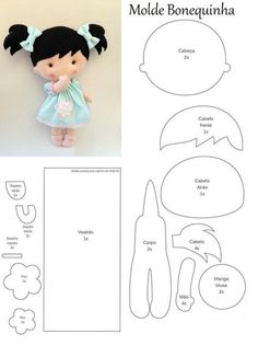 Baby Girl Pattern | http://euamoartesanar.blogspot.gr/2017/03/boneca-com-molde_9.html?m=1