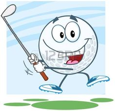 Feliz pelota de golf personaje de dibujos animados un tiro de golf photo