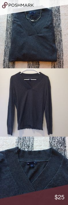 Lightweight grey vneck sweater Lightweight grey vneck sweater. Great for layering with a button up or on its own. Cozy and soft. GAP Sweaters V-Necks