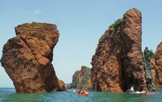 Kayaking the world's highest tides in the Bay of Fundy - Kayaking between the sisters at high tide