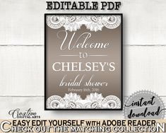 Traditional Lace Bridal Shower Bridal Shower Welcome Sign Editable in Brown And Silver, greet guests, shower celebration, prints - Z2DRE #bridalshower #bride-to-be #bridetobe