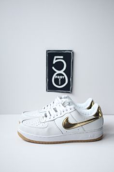 Great example of a low top air force 1. Full white leather and a metallic gold swoosh. This traditional chunky Nike trainer is always a classic and looks super crisp in this colour-way.  Unworn, brand new.  No box. | Shop this product here: spree.to/z23 | Shop all of our products at http://spreesy.com/Wedo7    | Pinterest selling powered by Spreesy.com