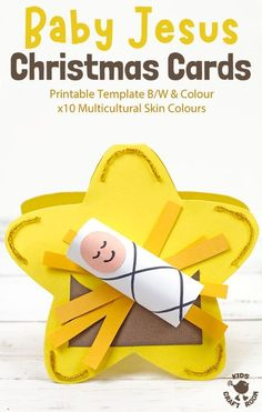 These Baby Jesus Christmas Cards are the sweetest! This baby Jesus craft is easy to make with the printable template which comes in B/W and Colour, with x10 multicultural skin colours to choose from. An adorable religious Christmas craft for kids. #kidscraftroom #kidscrafts #christmascrafts #christmascards #Jesus #jesuscrafts #babyjesus