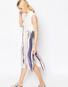 ASOS City Midi Shirt Dress In Painted Stripe