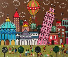 Pisa Art Pop, Painting For Kids, Art For Kids, Circus Crafts, School Murals, Scandinavian Folk Art, My Art Studio, Naive Art, Mexican Art