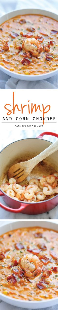 Shrimp and Corn Chowder - An easy, creamy chowder that's incredibly smoky, sweet and packed with tons of flavor!