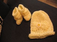 Babies Crocheted Hat and booties in Yellow. by TheShoppingBasket