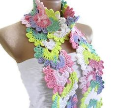 Crocheted Multi Color Bamboo Lace by likeknitting on Etsy, $33.99