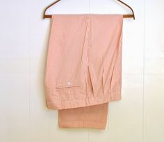 #1970's Mens Pants Vintage Seersucker Orange Vertical Striped Size Waist 38 Berle Mens Summer #Trousers Pleated Cuffed #SouthernGentleman by ArmorOfModernMen.Etsy.com  #vintagefashion #vintagemenswear #dapperman #retroclothing #vintageclothing #gogreengovintage