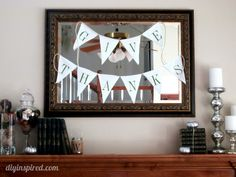 Make a Thanksgiving Bunting out of an old T Shirt.