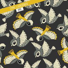 Design by Emmi Laaksonen. Bird Fabric, Fabric Design, Playing Cards, Game Cards