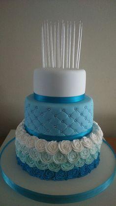 Resultado de imagen para tortas en blanco y turquesa de 3 pisos