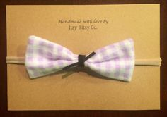 Everly purple checkered small bow girl bow baby bow by ItsyBitsyCo