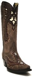 Corral Women's Studded Brown Red Overlay Boots