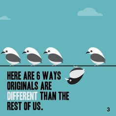 The main concepts from the book Originals, delightfully delivered in a beautiful 60 second package. Get the version of this book by singing up for a free account at www. Personal Development Books, The Rest Of Us, Thing 1 Thing 2, The Book, Something To Do, Leadership, Singing, Concept, Marketing