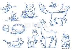Cute cartoon forest animals. Owl, fox, deer, hedgehog, mouse. Hand drawn doodle vector illustration.