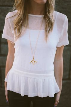 Gold Antler Necklace by JQvancouver on Etsy