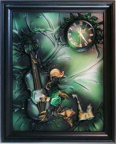 Obraz   zegar scienny ze sk�ry, 76x61, na prezent