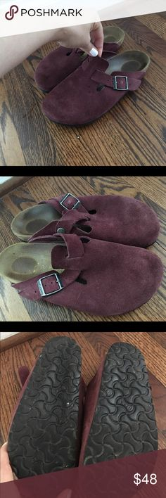 Birkenstock Free People Boston Clogs Birkenstocks are having a fashion moment and this is your chance to jump and this comfy and super cute boho trend for wayyyy less! Stylish and versatile Burgundy color Boston Clogs in size 37 narrow. Very very little wear. Only selling because I have two pairs of Bostons and my husband has convinced me to downsize Birkenstock Shoes Mules & Clogs