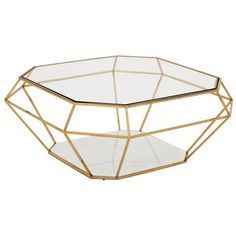 Eichholtz Asscher Coffee Table - Gold Ex Photo Shoot ($1,525) ❤ liked on Polyvore featuring home, furniture, tables, accent tables, coffee tables, decor, fillers, white marble table, gold coffee table and gold accent table