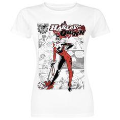 """Maglietta donna a maniche corte bianca """"Comic"""" di #HarleyQuinn."""