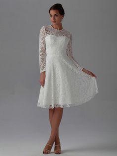 2015 new best elegant a line knee length long sleeve lace high neck wedding dresses 015676522