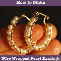 diy jewelry This jewelry DIY tutorial shows you step-by-step how to make wire wrapped hoop earrings with fresh water pearls. You will learn how to create the earring frame, how to attach the beads to the earrings and how to secure the hoop earrings. Diy Earrings Pearl, Wire Wrapped Earrings, Women's Earrings, Diamond Earrings, Wire Jewelry Earrings, Jewelry Case, Diy Necklace, Jewelry Rings, Jewelry Box