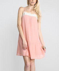 Loving this Pink & White Lace-Trim Shift Dress on #zulily! #zulilyfinds