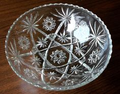 "Early American Prescut Glass Anchor Hocking EAPG Star David Large Bowl 10.75"" #3"
