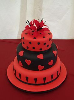 Image detail for -... -in-Arden, Stourport, Solihull, Evesham : Red and black heart cake